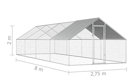 recinto per galline 2,75x8x2m in Acciaio Zincato